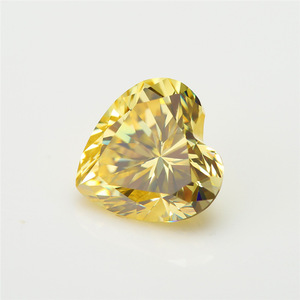 4.2mm 0.25carat Heart Cut Yellow moissanite lab created synthetic wholesale high quality moissanite diamond price per carat