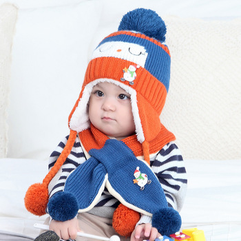 4e3f167cd3dad6 Fashion Design Plush Knit Hat Ear Protect Hat Scarf Two Piece Baby Winter  Hat