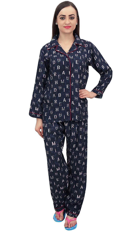 060b2566f4 Get Quotations · Bimba Button-Down Shirt with Pajama Pant 2 Pcs Night Wear  Set