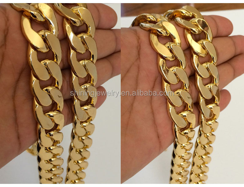 hip chains miami solid jewelry yellow cuban premium hop mens gold curb heavy lb chain