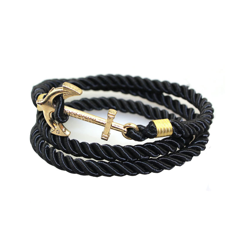 Hot sale man <strong>jewelry</strong>, multi layer bracelet with anchor clasp MOONSO KS2475