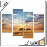 4 Panel Wall Art Giclle Wall Picture Ready to Hang oil paintings of elephants For Home decoration