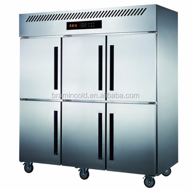6 doors upright stainless steel freezer/commerical kitchen equipment CE