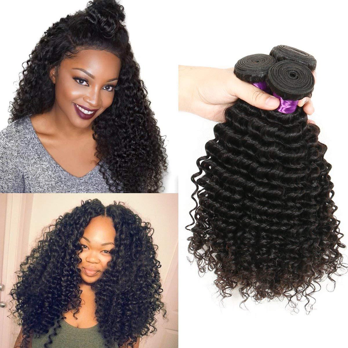 Brazilian Curly Hair Bundles Deep Wave Weave Hair Extensions Brazilian Deep Wave Human Hair 3 Bundles Bouncy Curl Hair 300g Brazilian Curly Hair (14 16 18)