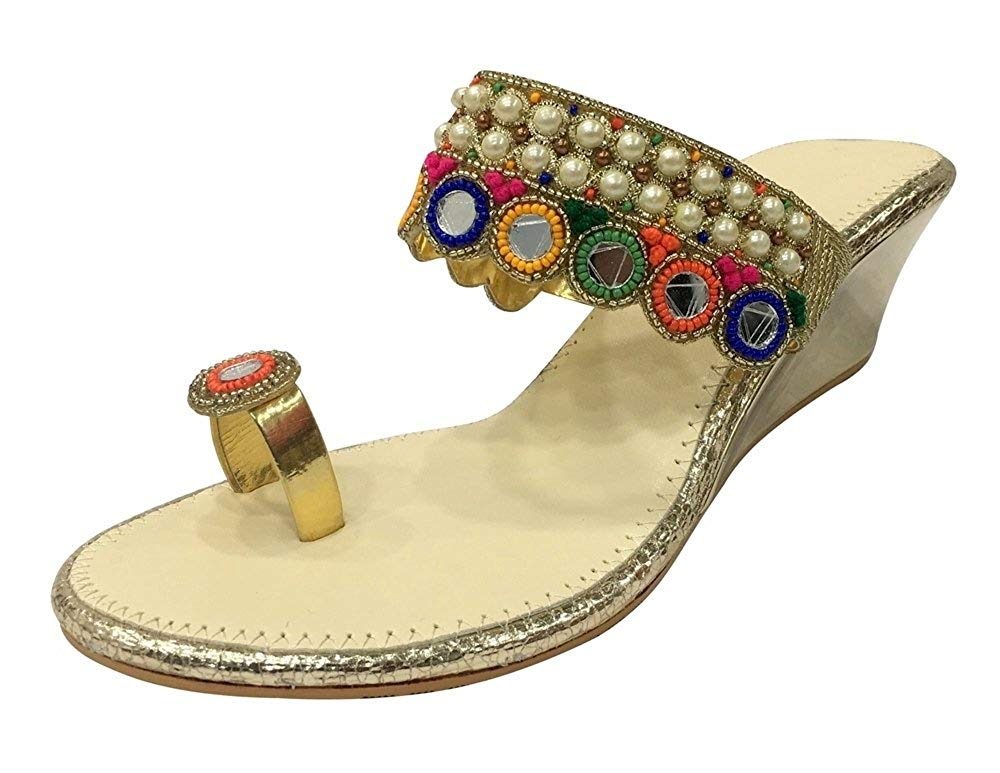 f85971d9f088 Get Quotations · Step n Style Ethnic Sandals Beaded Sandals Indian Slippers  Handmade Wedge Sandals