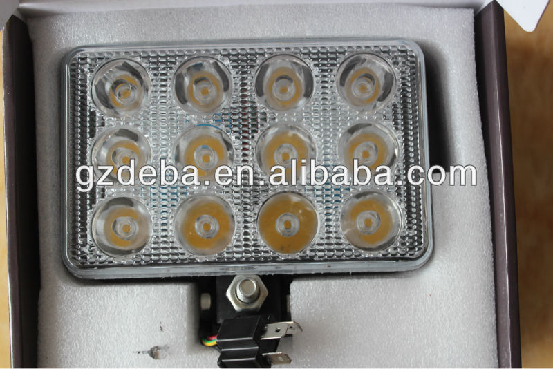 34w 4x6 square led spot light for cargo/truck/trailer