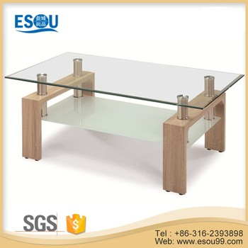 Modern Coffee Table MDF Legs Tempered Glass Mirrored Coffee Table