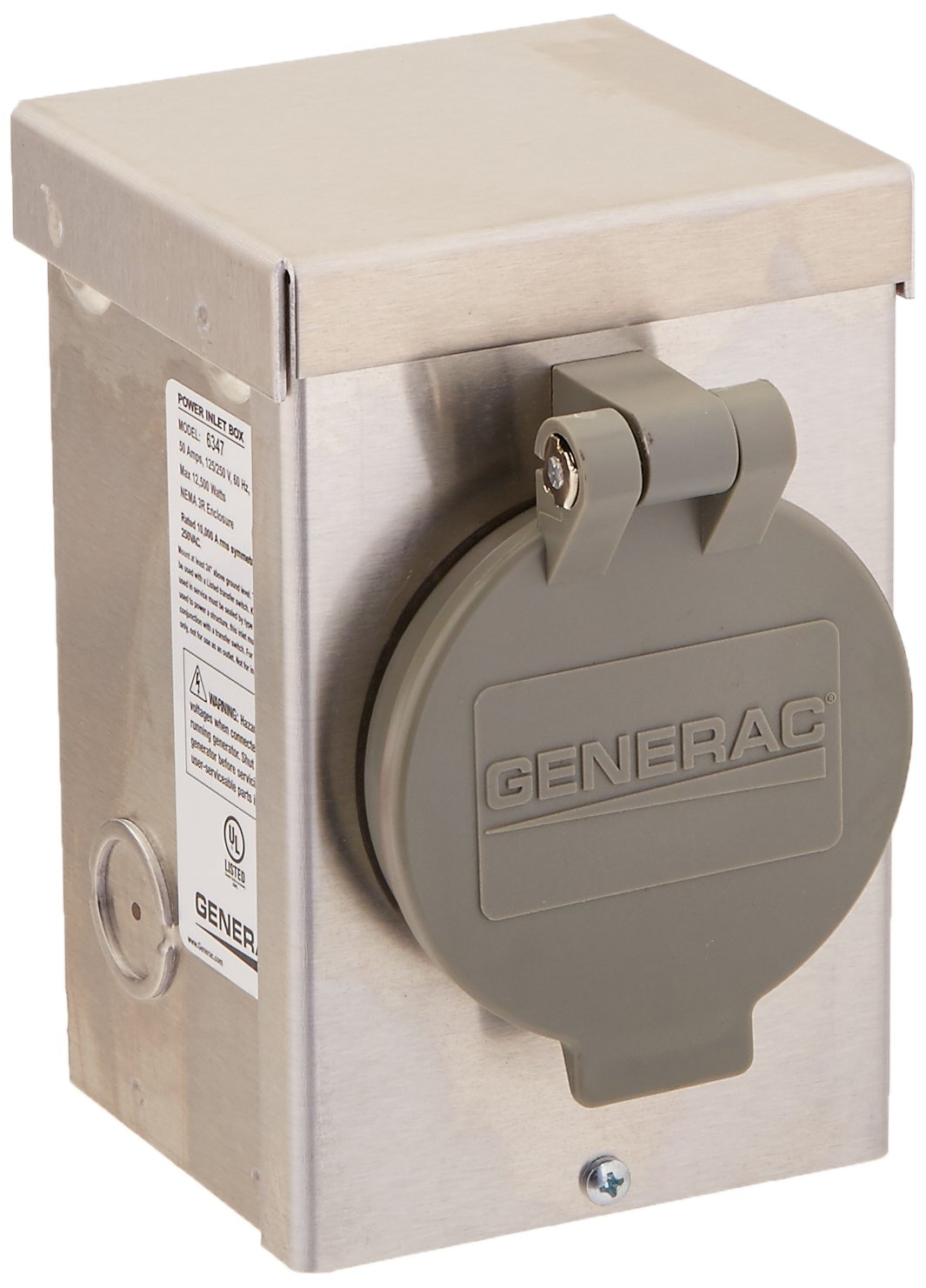 Generac 6339 20-Amp 125//250V Raintight Power Inlet Box with