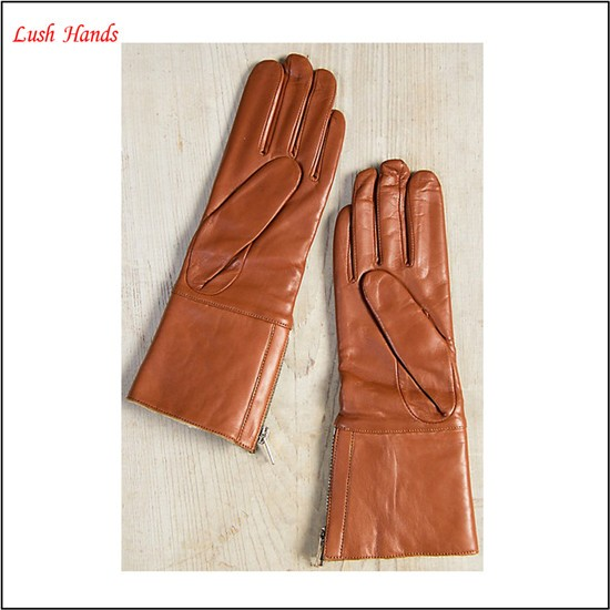 Ladies brown long soft nappa leather gloves with zipper for winter