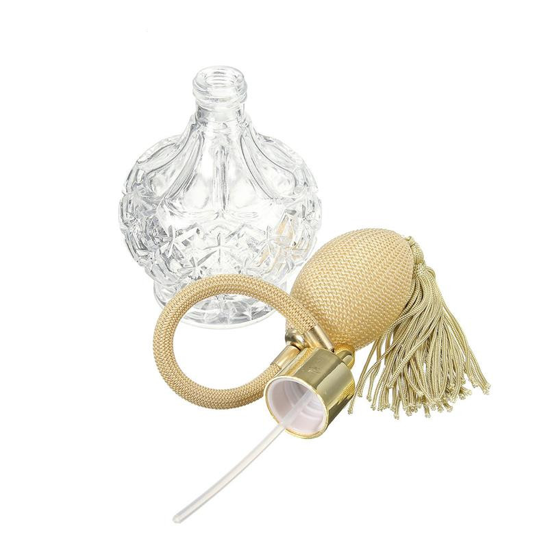 <strong>Empty</strong> 80ml Clear Crystal Vintage <strong>Perfume</strong> <strong>Bottle</strong> Sprayer Pump Gold Long Spray Tassels <strong>Perfume</strong> Atomizer Pump Refillable <strong>Bottles</strong>