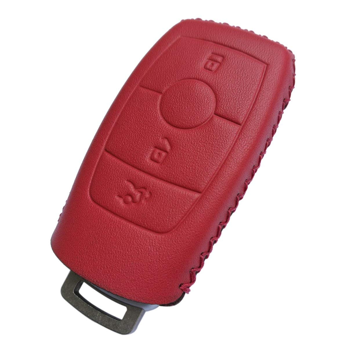 Coolbestda Leather Key Fob Remote Cover Skin Keyless Jacket Protector Case Accessories for Mercedes benz E-Class (2017-up) E300 E400 E63 S-Class (2018-up) S450 S550e S560 S63