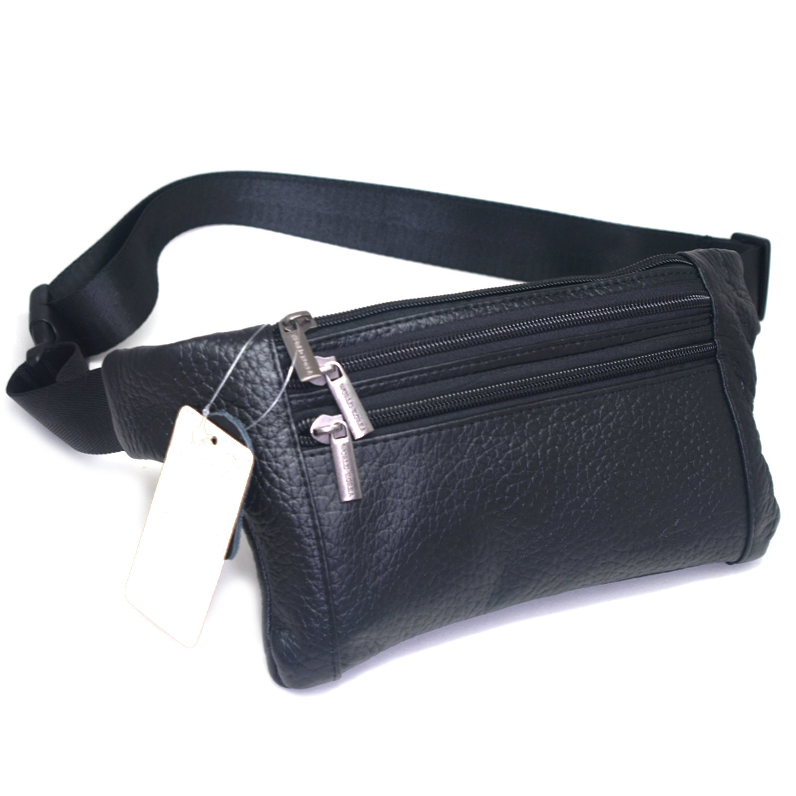 dfadfc54b98 Get Quotations · Mens Leather Waist Hip Lumbar Fanny Pack Bag Womens Travel  Cell Phone Pocket