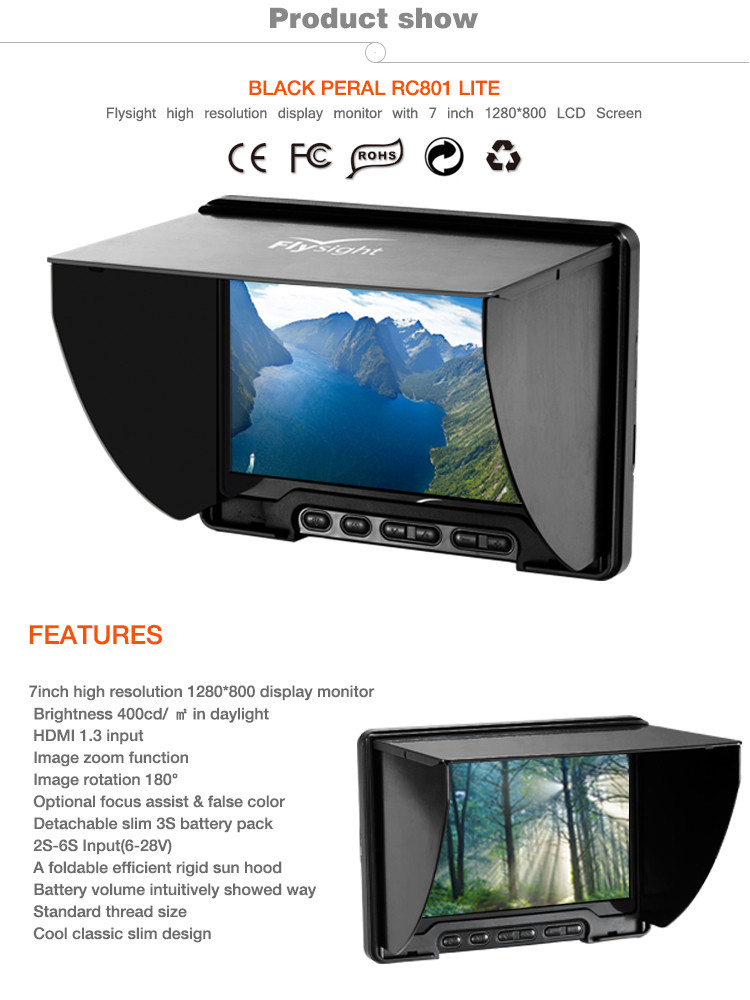 "7"" Wireless Built-in Receiver 5.8GHz LCD FPV Monitor"