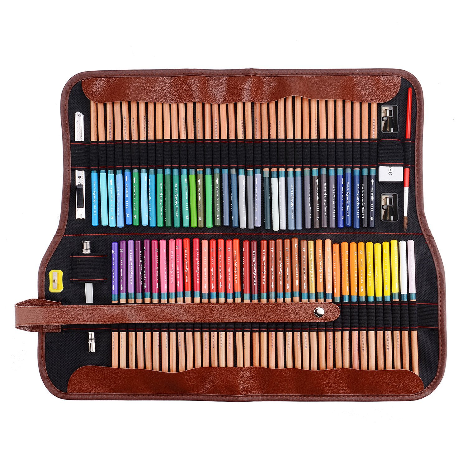 Marco Renoir Fine Art 72 Water Color Drawing Pencils +Eraser +pencil extender Set With Metal Tin and Roll Up Pouch Canvas Pen Bag for Artist Writing Sketching Colorful Blessings Cards
