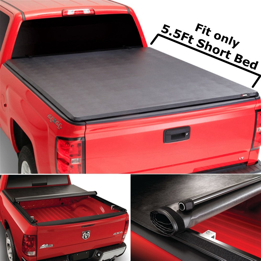 Super Drive RT020 Roll & Lock Soft Tonneau Truck Bed Cover For 2004-2015 Ford F150 5.5ft Short Bed