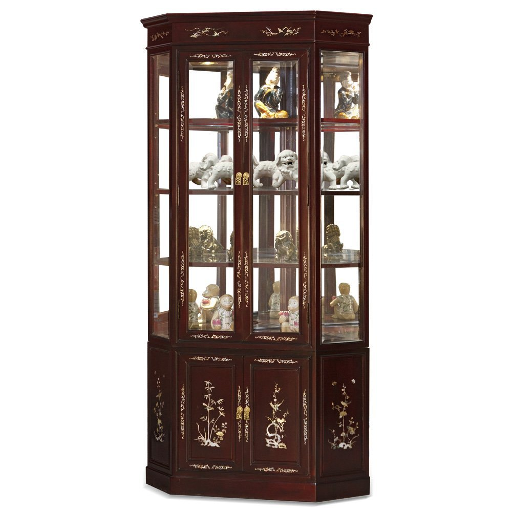 Get Quotations · China Furniture Online Rosewood China Cabinet, 27 Inches  Bird And Flower Mother Pearl Inlay Corner
