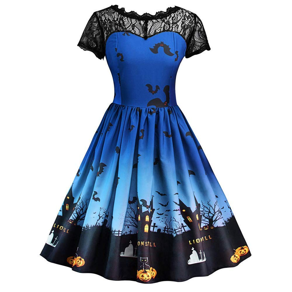 Women Vintage Halloween Dress, Ladies Short Sleeve Lace Dress A Line Pumpkin Print Losse Swing Dress