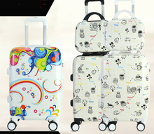 2-Piece Sets 12inch 20inch 8# Zipper Cartoon Characters Luggage