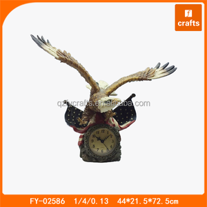 American resin eagle statue with clock ornaments