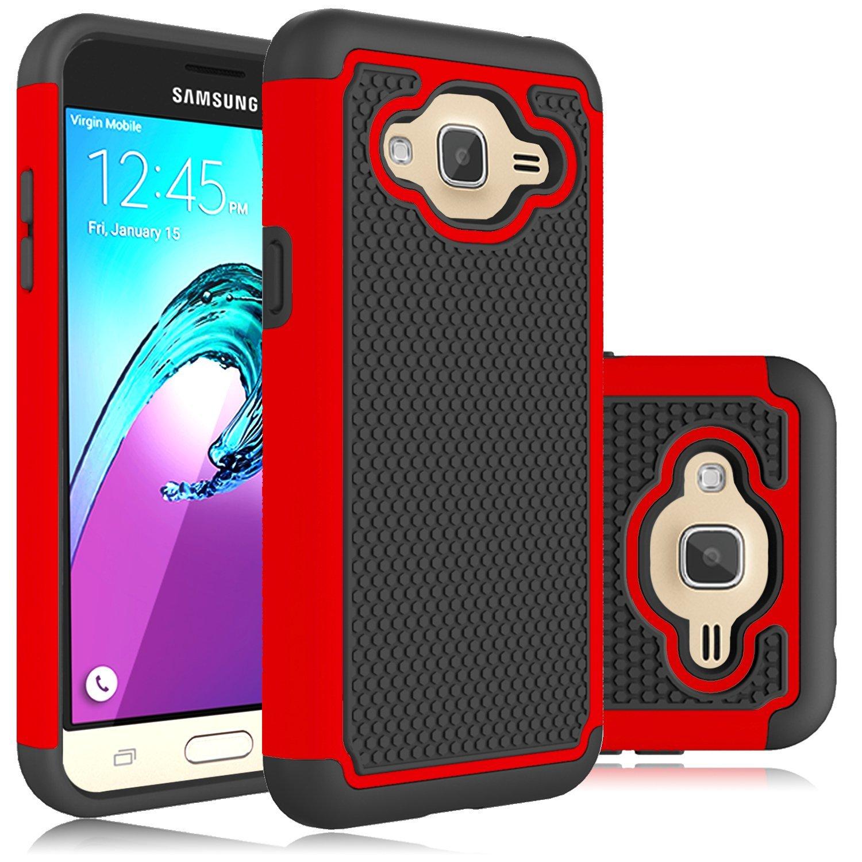Galaxy J3 (2016) Case, Galaxy J3 Case, HengTech (TM) High Impact Hybrid Dual Layer Rubber Silicone Impact Defender Rugged Case For Samsung SM-J320P / Samsung SM-J3109 (Red)