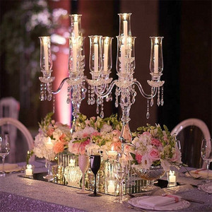 High Quality Hurricanes 5 Arms Crystal Candelabra For Home Table Centerpiece Decorations