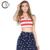 Custom OEM Clothing Ladies Red Striped Tank Crop Top