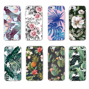 TOMOCOMO Cute Tropic Floral Leaves Cactus Phone Case Protective Soft Cat TPU Back Phone Case for iPhone 7 /7Plus 8 8PLUS X