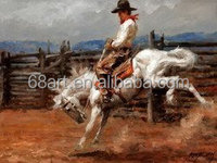 In the western United States cowboy rode oil painting on the canvas