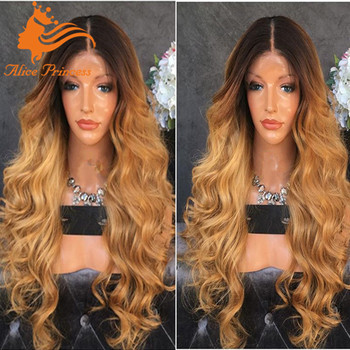 Wholesale Ombre Honey Blonde Brown Dark Root Wig Braid Lace Front Wig For America Buy Ombre Human Hair Full Lace Wig Lace Front Wig Blonde Wig
