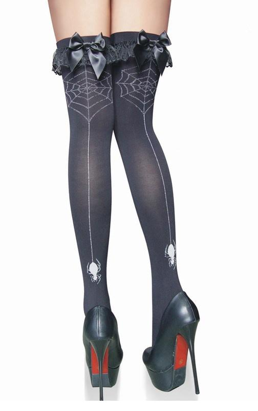 df8b04ab351 Get Quotations · Hot sexy Lingeries Women Back Lace With Bows Spider Print  Over Knee Stockings With Bows thigh