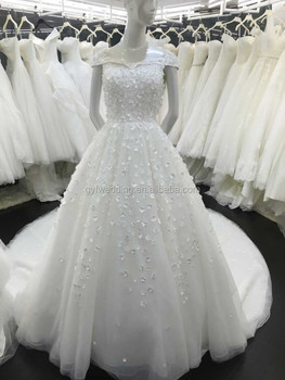 Factory Direct Ready Made Short Sleeves Heavy Lace Wedding Dresses Long Train Gown 151217