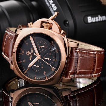 luxury leather strap Chronograph Military quartz wrist Watches Relogio Masculino  megir  rose gold mens watch