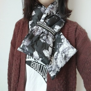 Han version of the new style simple scarf female autumn winter pure color down cotton wool warm scarf.