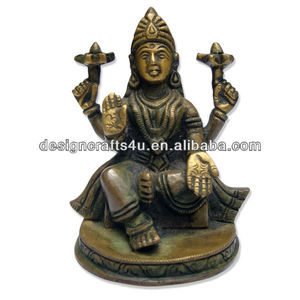 Antique Brass Hindu Goddess Figurine For Wealth Blessings