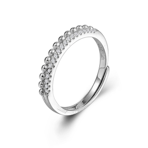Korean S925 Silver Micro Paved Diamond Double Layer Row Beads Women 's Ring Students Silver Ring Ornam