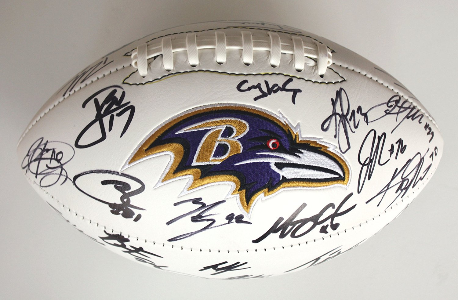 2ce2b50dade Get Quotations · Baltimore Ravens 2015 Team Signed Autographed Logo Football  PAAS COA Flacco Forsett