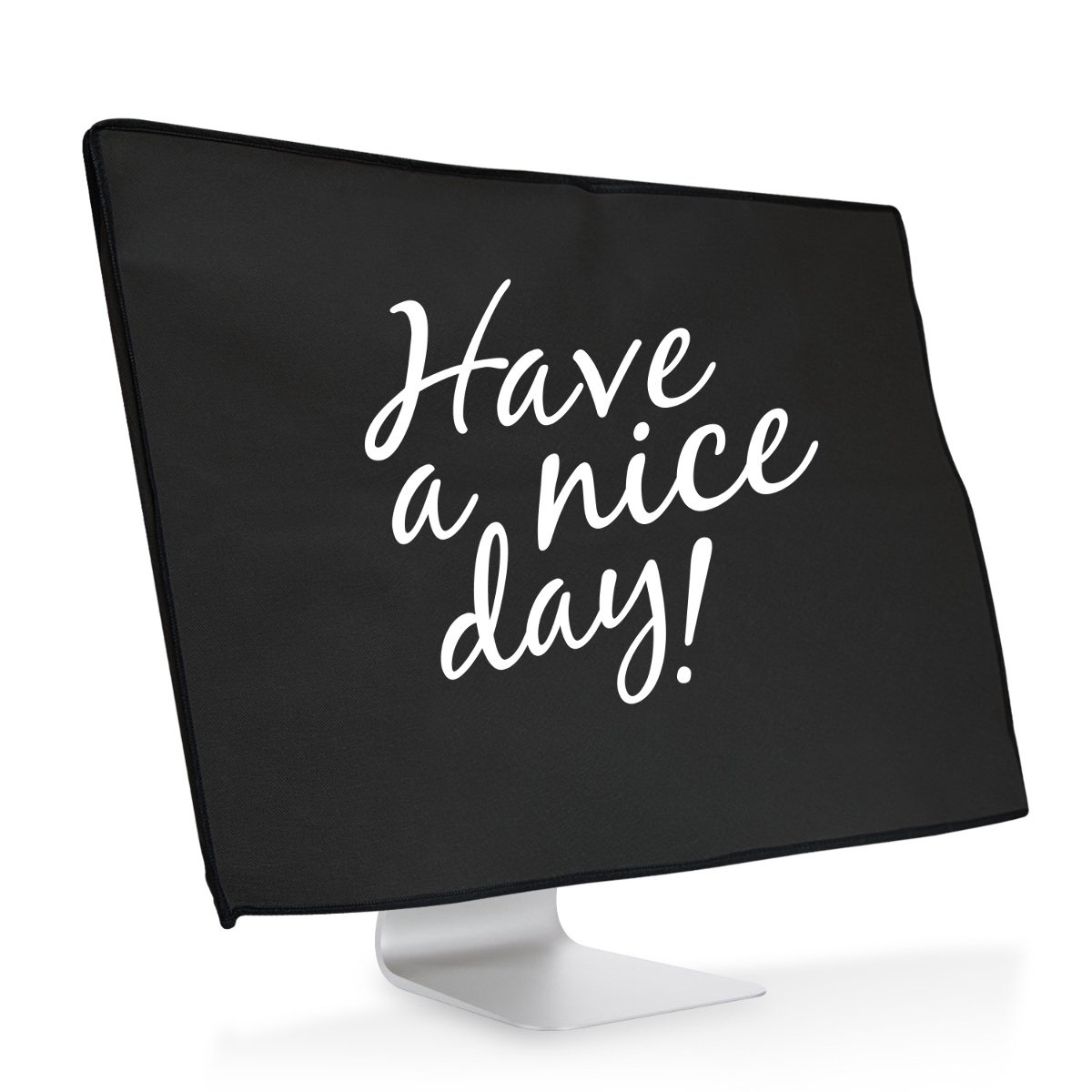 """kwmobile Screen protective cover for Apple iMac 21.5"""" - Dust cover PC monitor case in white black Design Have a Nice Day"""