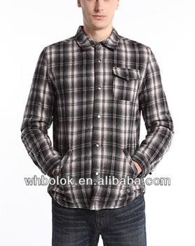 De Forrado Hombre Chaqueta Franela Camisa Camisas Algodón Hwq1A