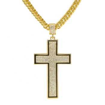 fe9fac90ce930 Hip Hop Men's Jewelry Bling Bling14k Gold Iced Out Big Cross Pendant  Necklace - Buy Iced Out Big Cross Pendant Necklace,Men's Gold Iced Out Big  Cross ...