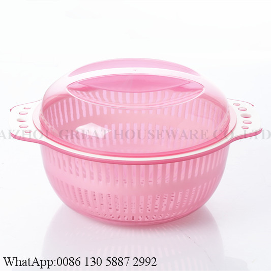 Hot sale plastic dropping water basket with cover round shape basket for fruit and vegetable storage