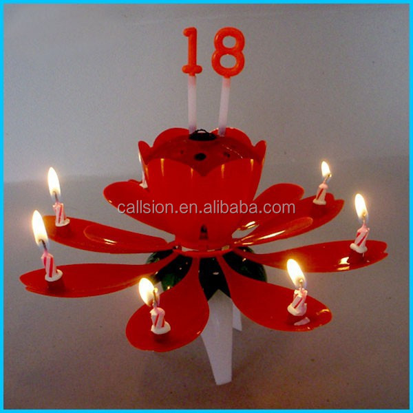 Magic fireworks flower rotating happy birthday musical candle