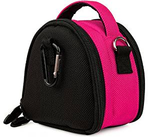 Hot Pink Limited Edition Camera Bag Carrying Case with battery charger, battery charger, memory cards, and accessories Pocket for Casio EXILIM Zoom EX-S200 EX-FH100 EX-G1 EX-H30 EX-Z16 EX-ZR10 EX-ZR100 EX-ZS5BK EX-ZS5PK EX-ZS5SR EX-ZS5BE EX-ZS10BK EX-ZS10PK EX-ZS10SR EX-ZS10RD EX-H15 EX-Z16BK