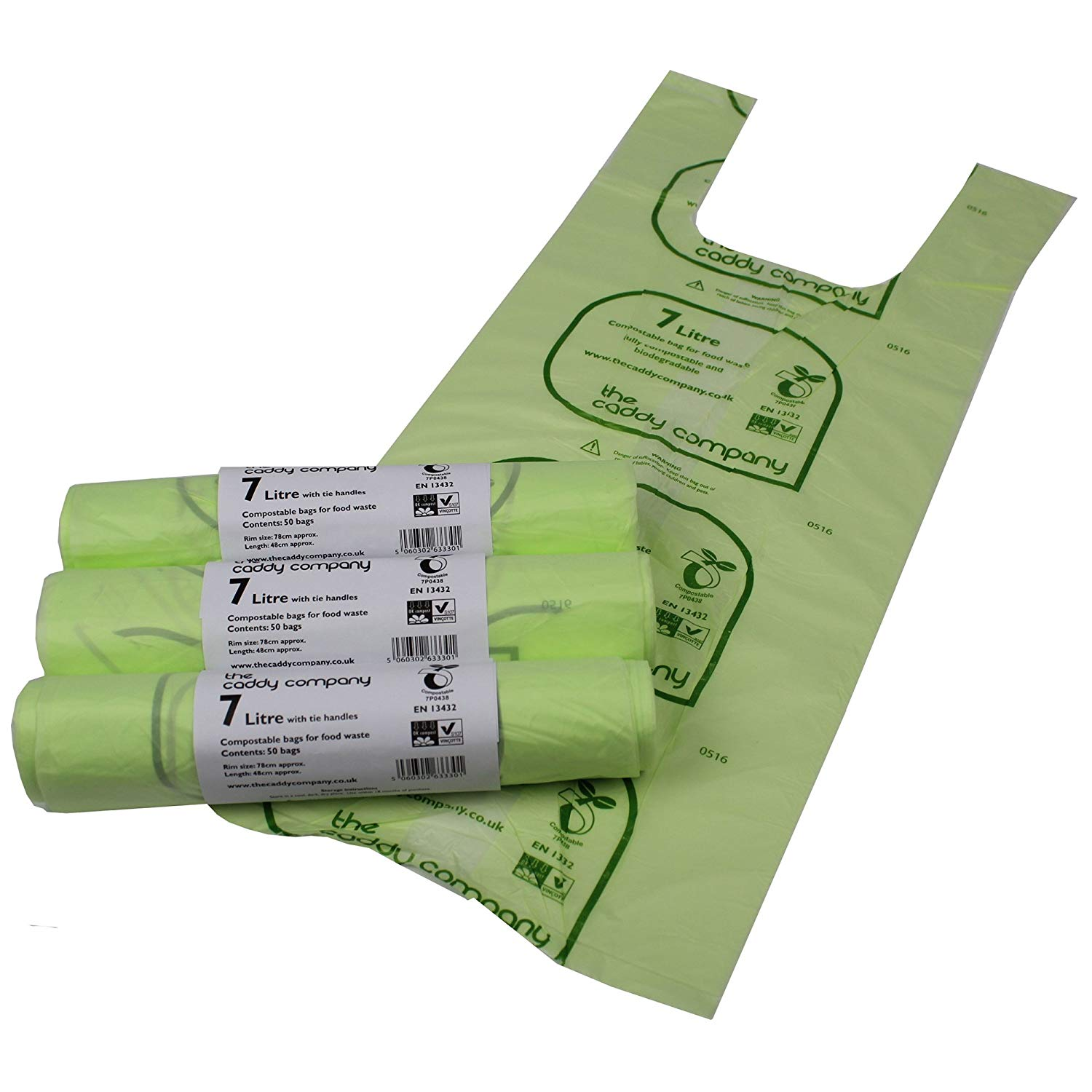 get quotations the caddy company 7 litre tie handle compostable kitchen caddy liners 150 bags - Kitchen Caddy