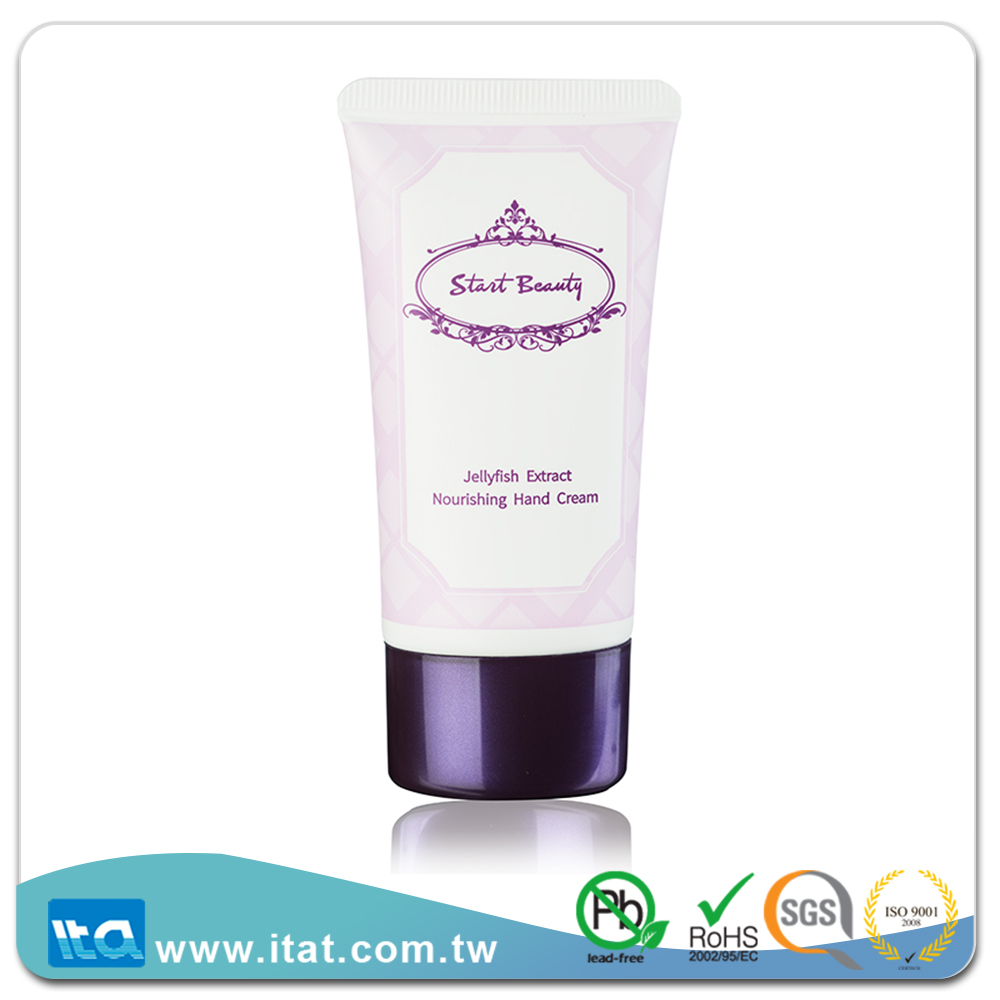 Free sample Skin care plastic cosmetic oval tube with plating cap