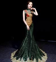 Роскошные королевские синие китайские великолепные вечерние наряды, Длинные Cheongsams блестки/Стразы/вышивка, платье для выпускного бала qipao(Китай)