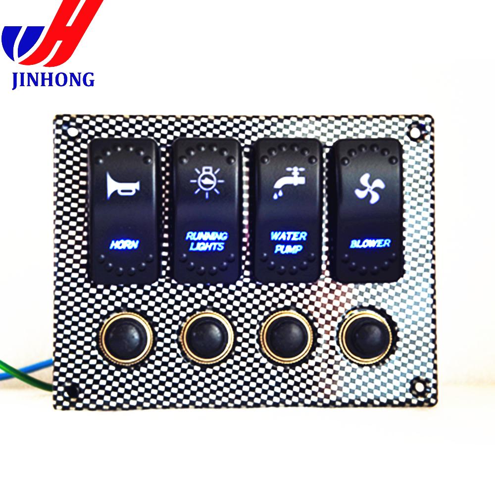 Qiilu 12V DC Panneau dinterrupteur /à Bascule pour Marine Bateau Voltm/ètre LED Double Batterie Panneau de Test Interrupteur /À Bascule ON-OFF-ON