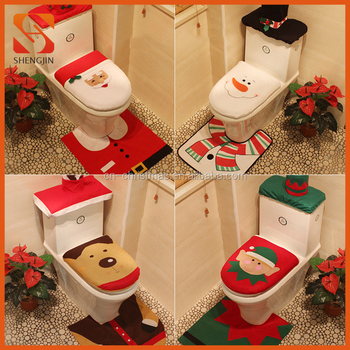 Santa Claus Snowman Reindeer Elf Christmas Toilet Seat Cover Set
