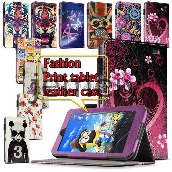 2015 Printed Wallet PU Leather Stand Tablet Case for Amazon Kindle Fire HD 7