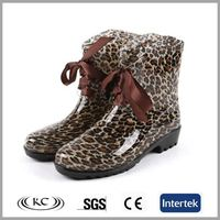 Canada women's both fishing walking leopard print waterproof ankle rain boots