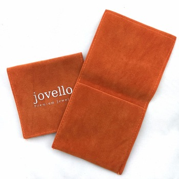 oem 4*4 inches Orange flap velvet jewelry pouch necklace packing pouch